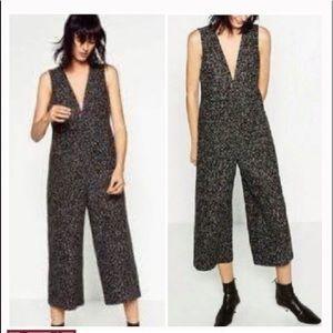 Zara Tweed Black and White Jumpsuit M